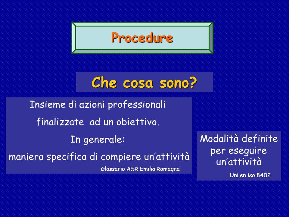 Procedure Che cosa sono.Insieme di azioni professionali finalizzate ad un obiettivo.