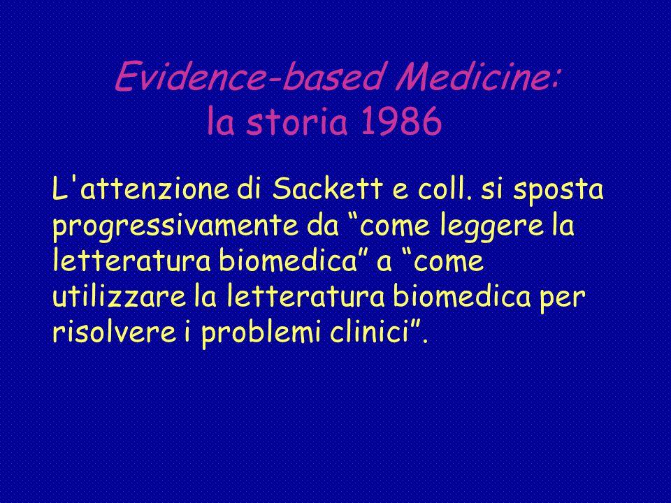 Evidence-based Medicine: la storia 1986 L attenzione di Sackett e coll.