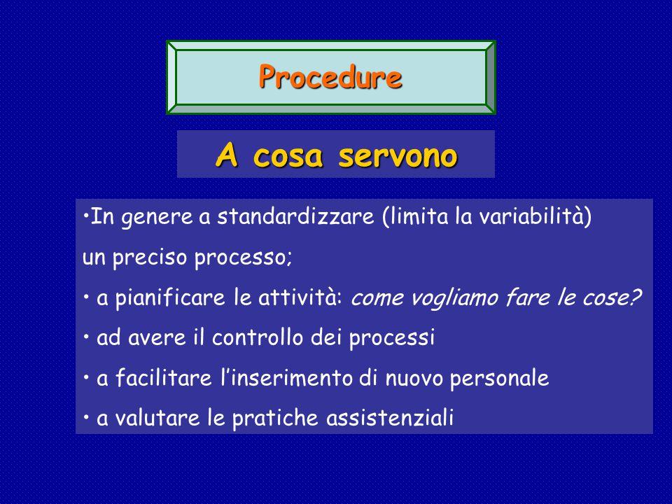 Procedure A cosa servono In genere a standardizzare (limita la variabilità) un preciso processo; a pianificare le attività: come vogliamo fare le cose.