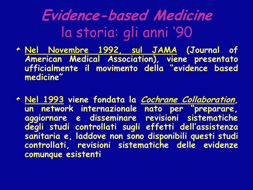 Evidence-based Medicine la storia: gli anni '90 Nel Novembre 1992, sul JAMA (Journal of American Medical Association), viene presentato ufficialmente