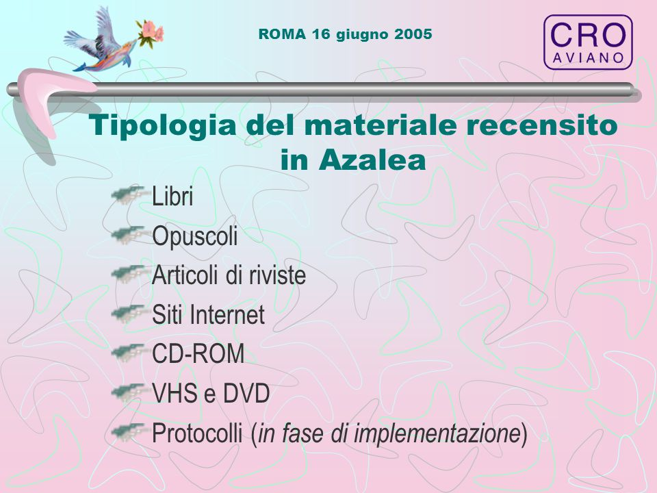 Tipologia del materiale recensito in Azalea Libri Opuscoli Articoli di riviste Siti Internet CD-ROM VHS e DVD Protocolli ( in fase di implementazione )