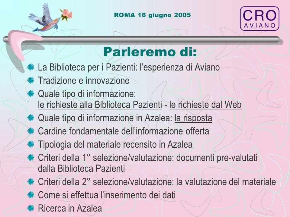 ROMA 16 giugno 2005 La Biblioteca per i Pazienti l'esperienza di Aviano Nata nel 1998 per soddisfare le richieste di pazienti e familiari Ricerca e reperimento di materiale specifico per pazienti Inizio creazione della Banca Dati Immissione della banca dati in Azalea on-line