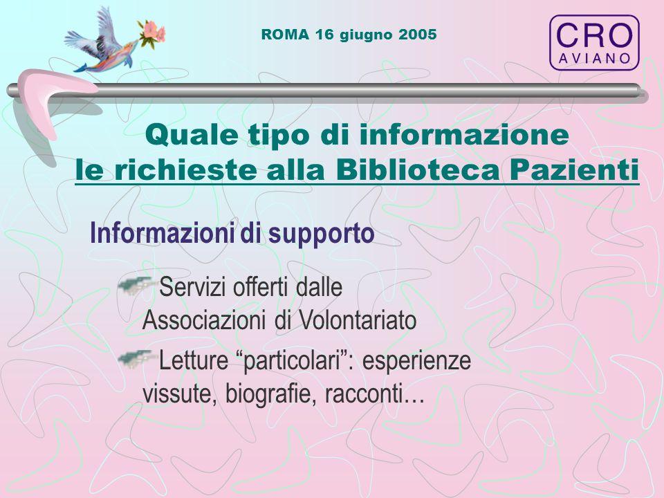 ROMA 16 giugno 2005 Quale tipo di informazione le richieste alla Biblioteca Pazienti Informazioni di supporto Servizi offerti dalle Associazioni di Volontariato Letture particolari : esperienze vissute, biografie, racconti…