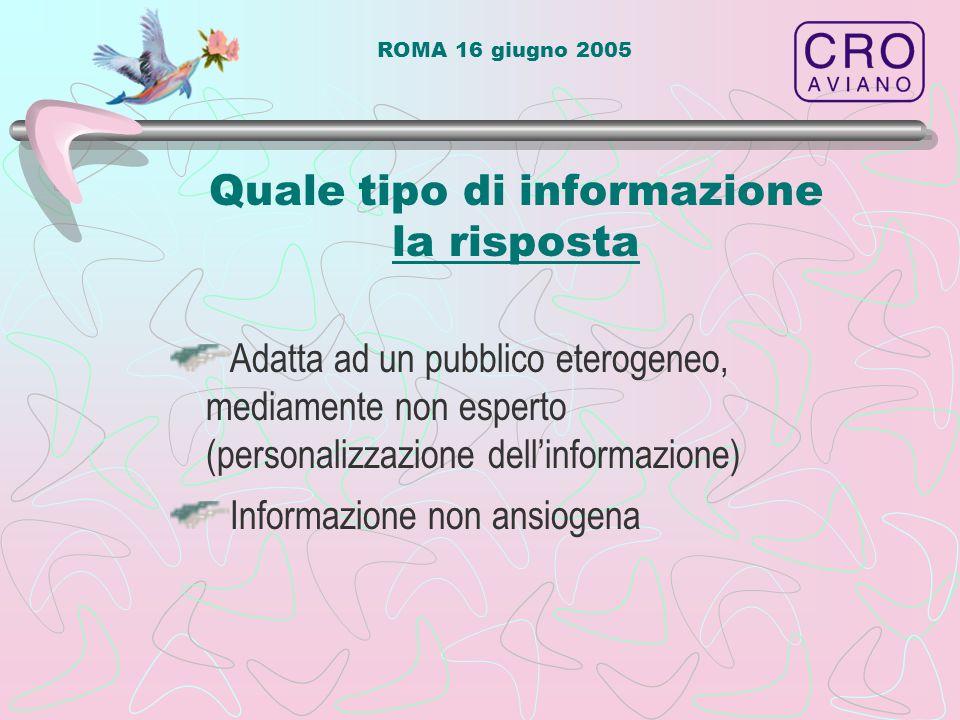 ROMA 16 giugno 2005 Quale tipo di informazione la risposta Adatta ad un pubblico eterogeneo, mediamente non esperto (personalizzazione dell'informazio