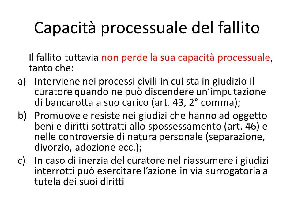 Capacità processuale del fallito Il fallito tuttavia non perde la sua capacità processuale, tanto che: a)Interviene nei processi civili in cui sta in