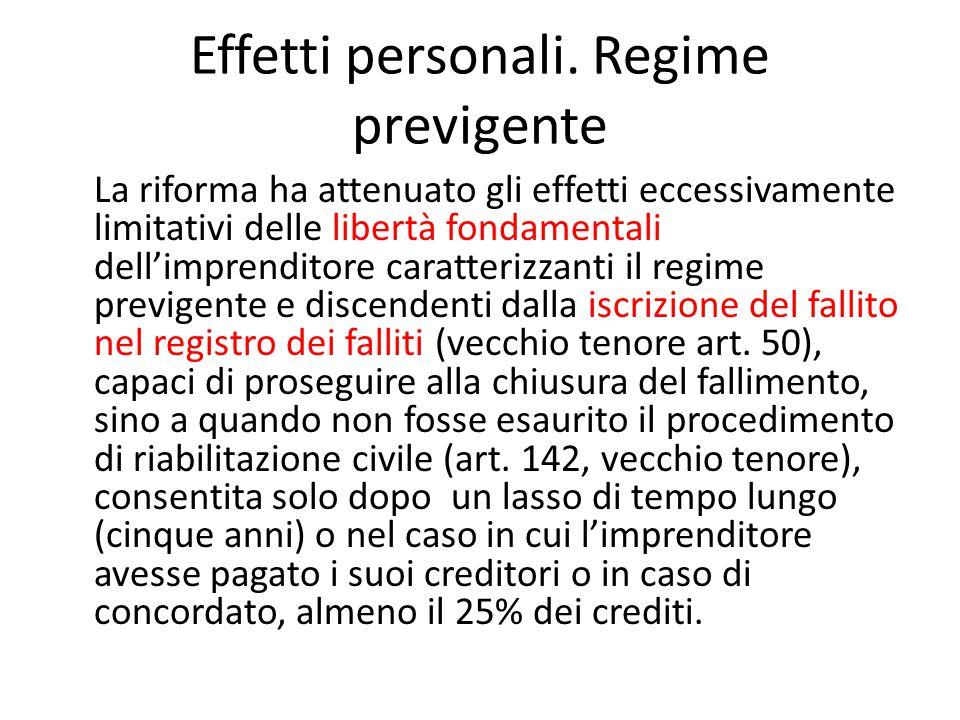 Effetti personali. Regime previgente La riforma ha attenuato gli effetti eccessivamente limitativi delle libertà fondamentali dell'imprenditore caratt