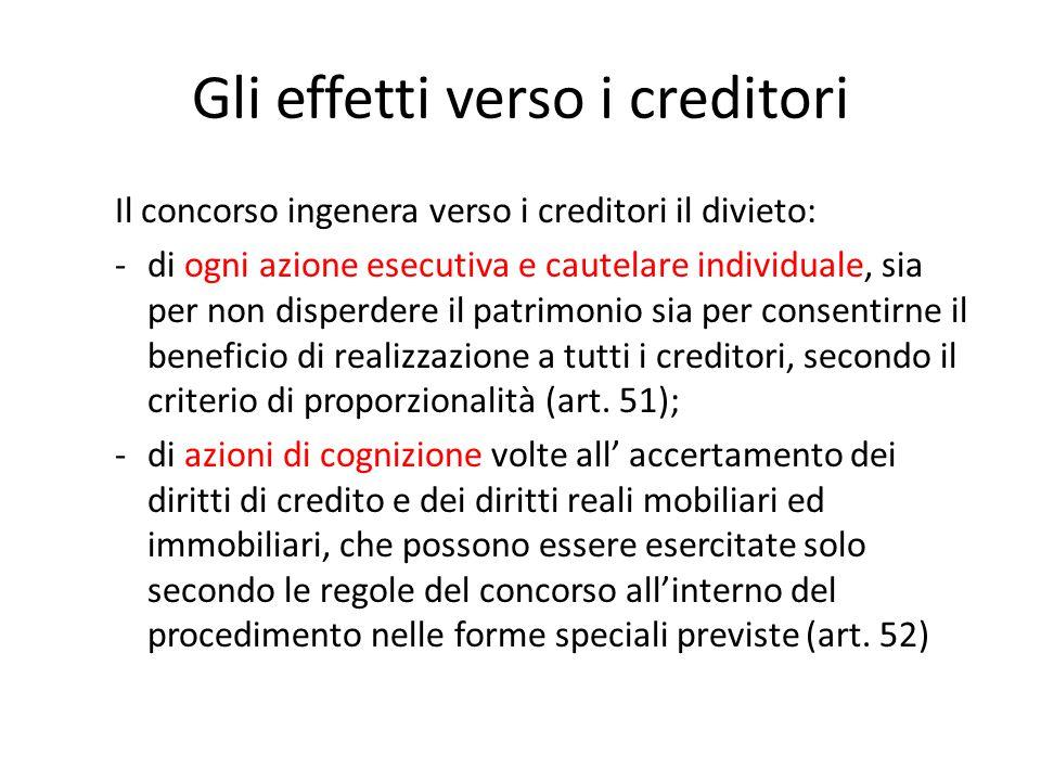 Gli effetti verso i creditori Il concorso ingenera verso i creditori il divieto: -di ogni azione esecutiva e cautelare individuale, sia per non disper