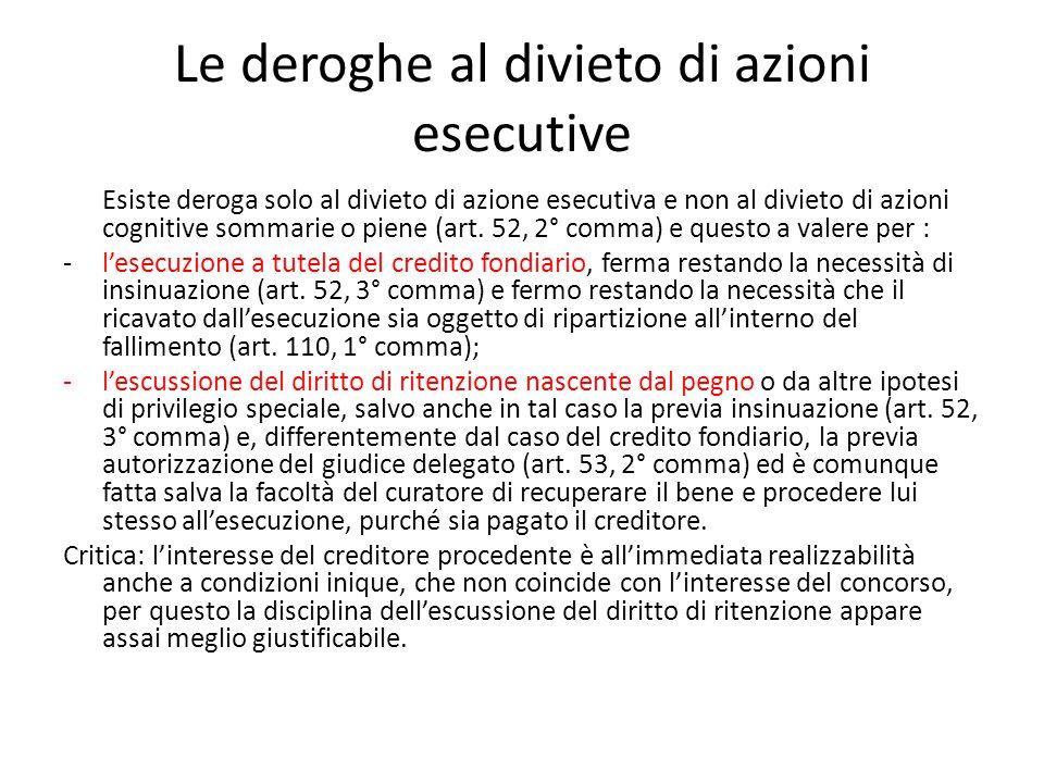 Le deroghe al divieto di azioni esecutive Esiste deroga solo al divieto di azione esecutiva e non al divieto di azioni cognitive sommarie o piene (art