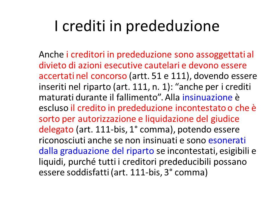 I crediti in prededuzione Anche i creditori in prededuzione sono assoggettati al divieto di azioni esecutive cautelari e devono essere accertati nel c