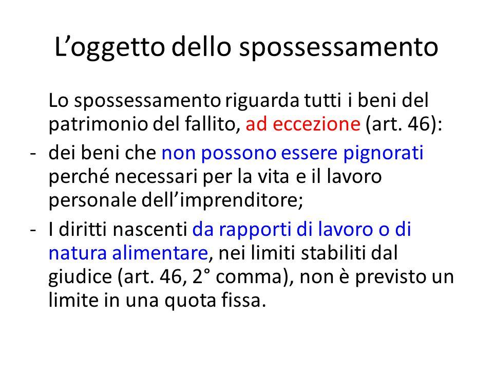 L'oggetto dello spossessamento Lo spossessamento riguarda tutti i beni del patrimonio del fallito, ad eccezione (art. 46): -dei beni che non possono e