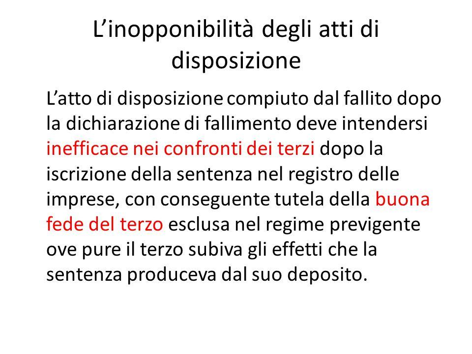 L'inopponibilità degli atti di disposizione L'atto di disposizione compiuto dal fallito dopo la dichiarazione di fallimento deve intendersi inefficace