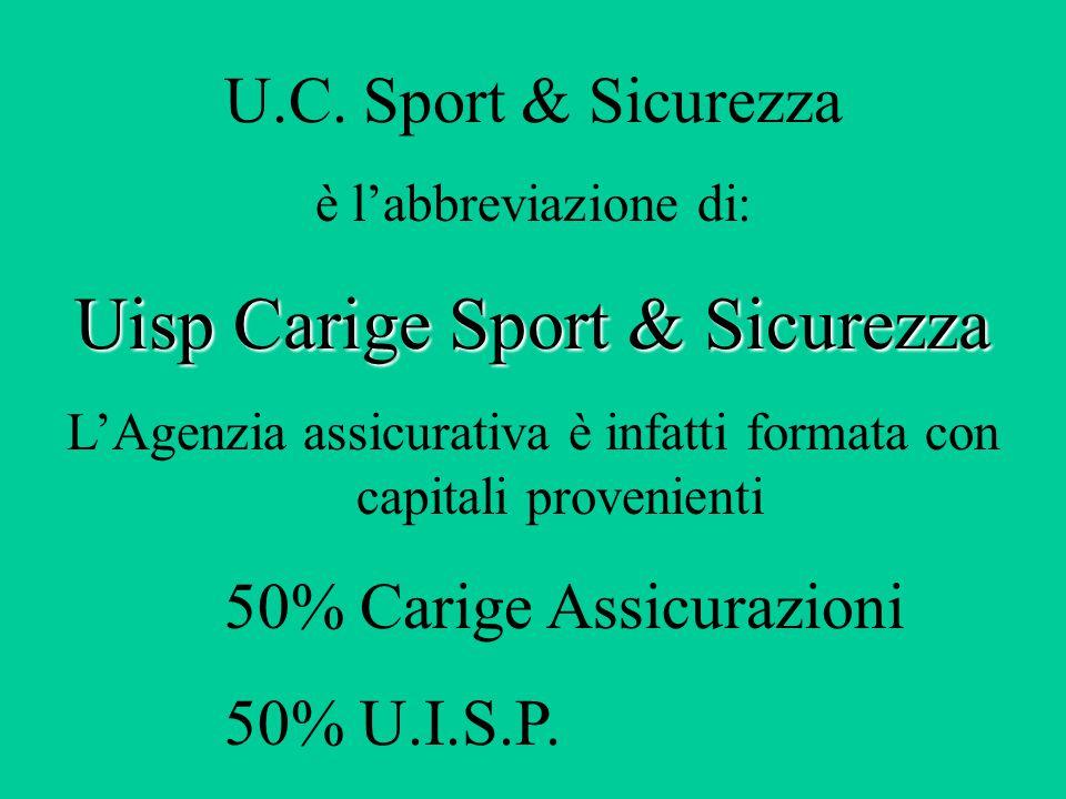U.C. Sport & Sicurezza è l'abbreviazione di: Uisp Carige Sport & Sicurezza L'Agenzia assicurativa è infatti formata con capitali provenienti 50% Carig