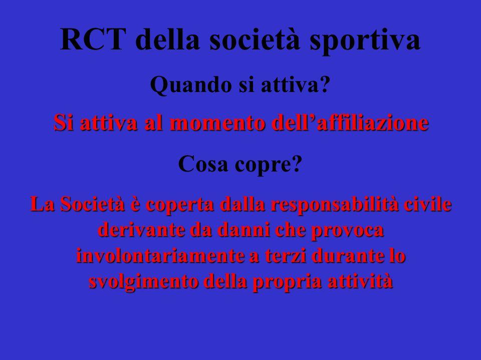 RCT della società sportiva A quanto ammonta il massimale.