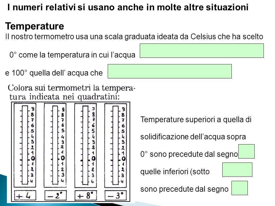 I numeri relativi si usano anche in molte altre situazioni Temperature Il nostro termometro usa una scala graduata ideata da Celsius che ha scelto 0°