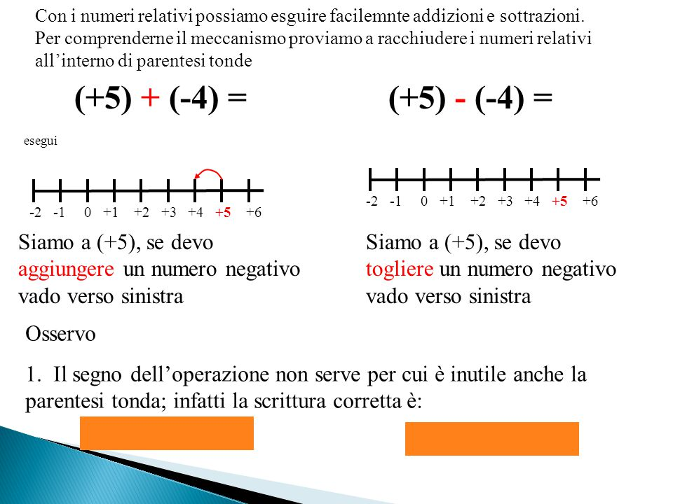 Con i numeri relativi possiamo esguire facilemnte addizioni e sottrazioni. Per comprenderne il meccanismo proviamo a racchiudere i numeri relativi all