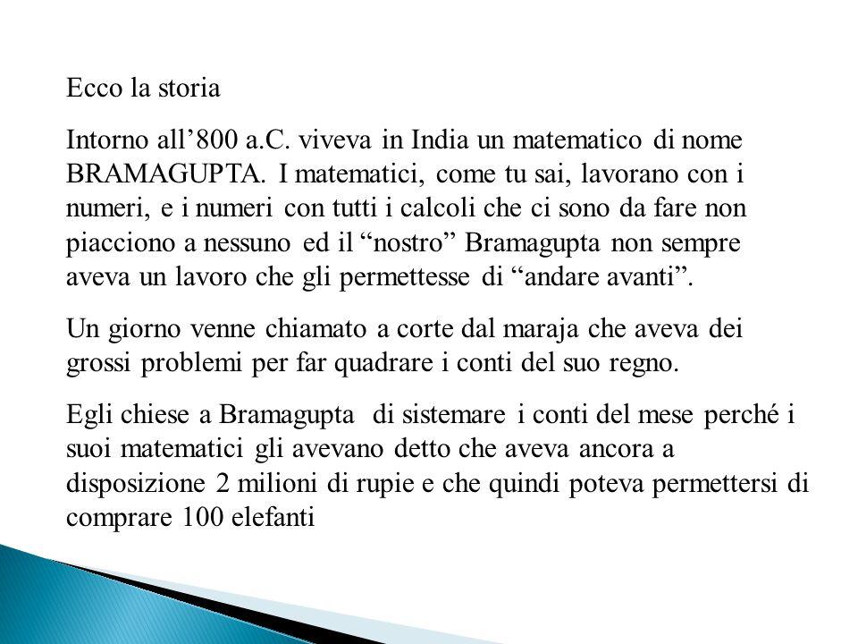 Ecco la storia Intorno all'800 a.C. viveva in India un matematico di nome BRAMAGUPTA. I matematici, come tu sai, lavorano con i numeri, e i numeri con