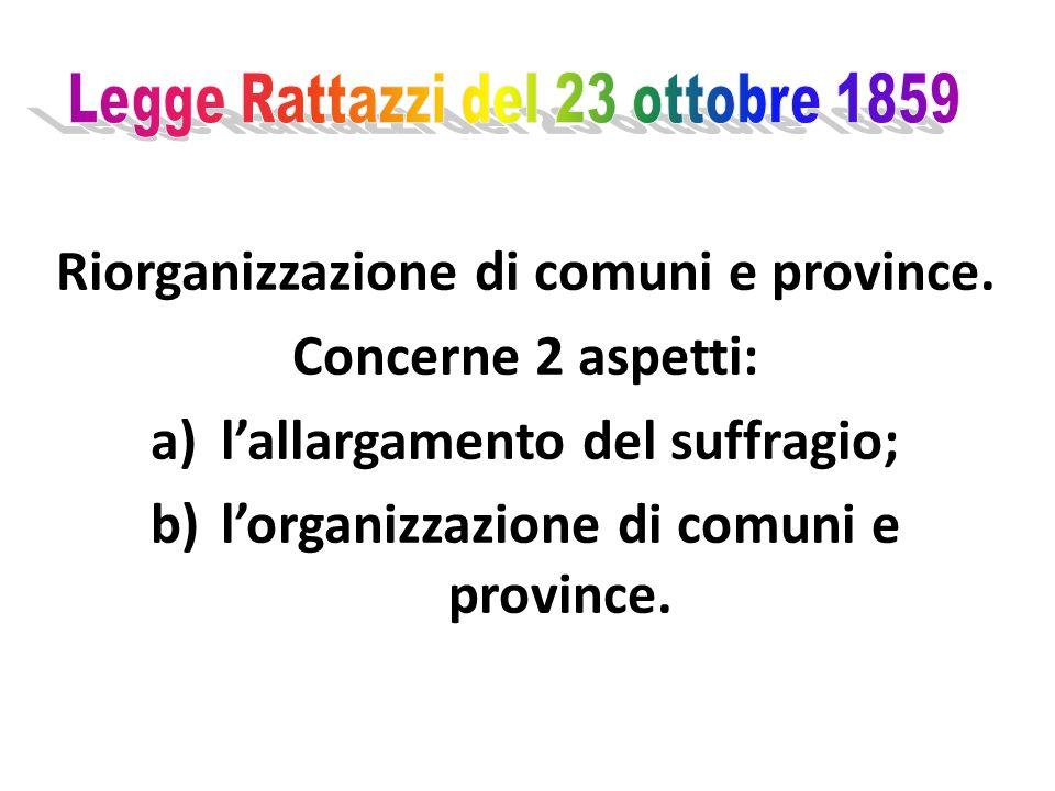 Riorganizzazione di comuni e province.