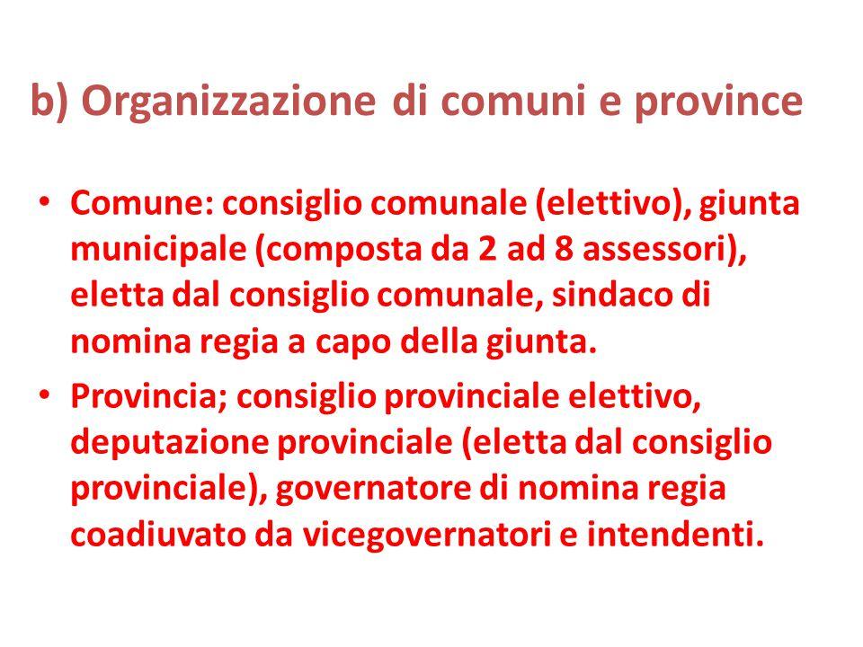 b) Organizzazione di comuni e province Comune: consiglio comunale (elettivo), giunta municipale (composta da 2 ad 8 assessori), eletta dal consiglio comunale, sindaco di nomina regia a capo della giunta.