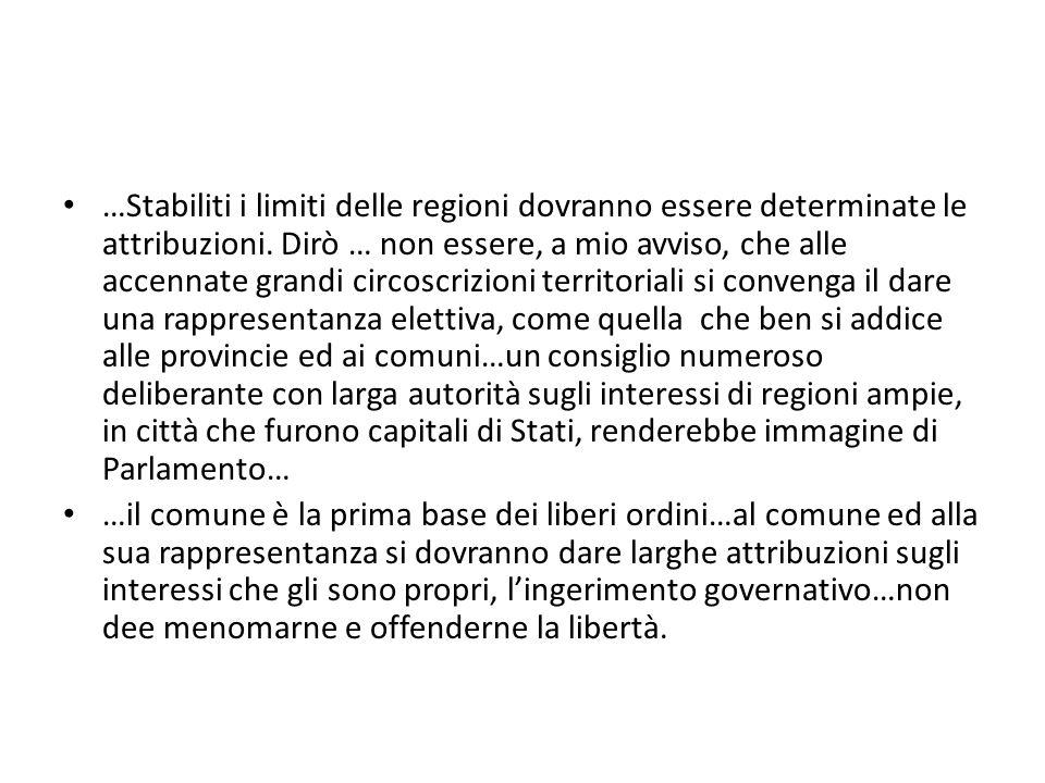 …Stabiliti i limiti delle regioni dovranno essere determinate le attribuzioni.