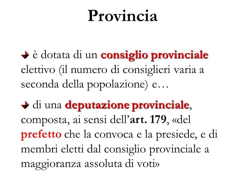Provincia consiglio provinciale è dotata di un consiglio provinciale elettivo (il numero di consiglieri varia a seconda della popolazione) e… deputazione provinciale di una deputazione provinciale, composta, ai sensi dell'art.