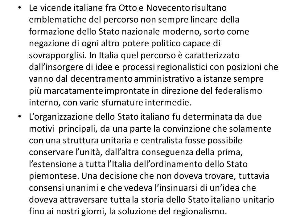 Le vicende italiane fra Otto e Novecento risultano emblematiche del percorso non sempre lineare della formazione dello Stato nazionale moderno, sorto come negazione di ogni altro potere politico capace di sovrapporglisi.
