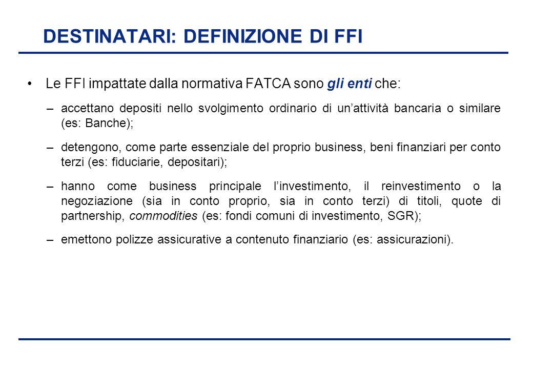 BEI - 17 aprile 2013 DESTINATARI: DEFINIZIONE DI FFI Le FFI impattate dalla normativa FATCA sono gli enti che: –accettano depositi nello svolgimento o