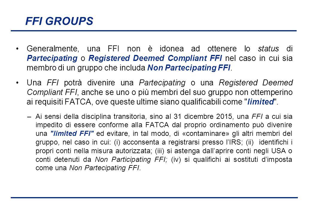 BEI - 17 aprile 2013 FFI GROUPS Generalmente, una FFI non è idonea ad ottenere lo status di Partecipating o Registered Deemed Compliant FFI nel caso i