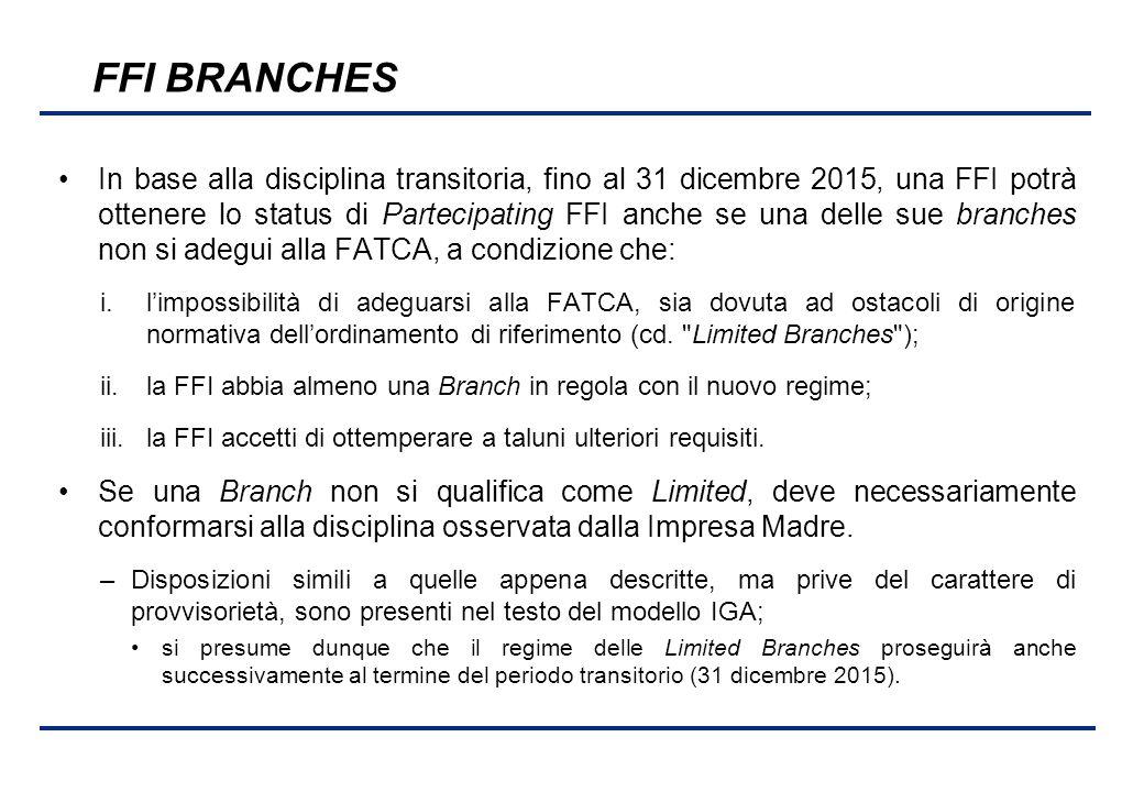 BEI - 17 aprile 2013 FFI BRANCHES In base alla disciplina transitoria, fino al 31 dicembre 2015, una FFI potrà ottenere lo status di Partecipating FFI