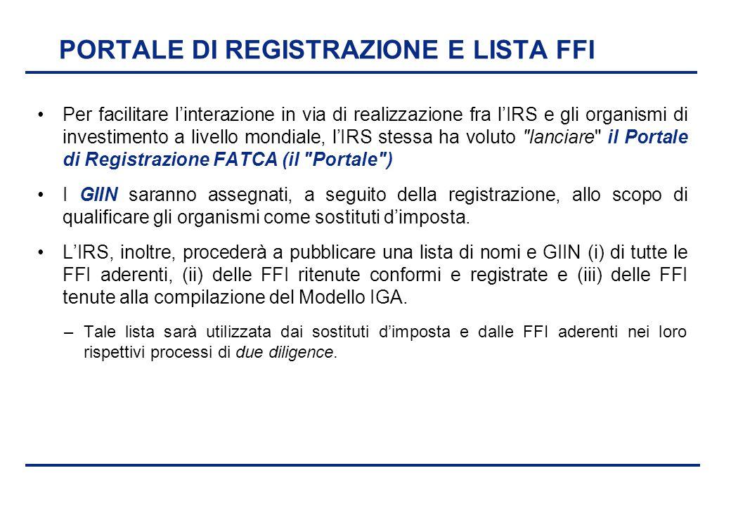 BEI - 17 aprile 2013 PORTALE DI REGISTRAZIONE E LISTA FFI Per facilitare l'interazione in via di realizzazione fra l'IRS e gli organismi di investimen