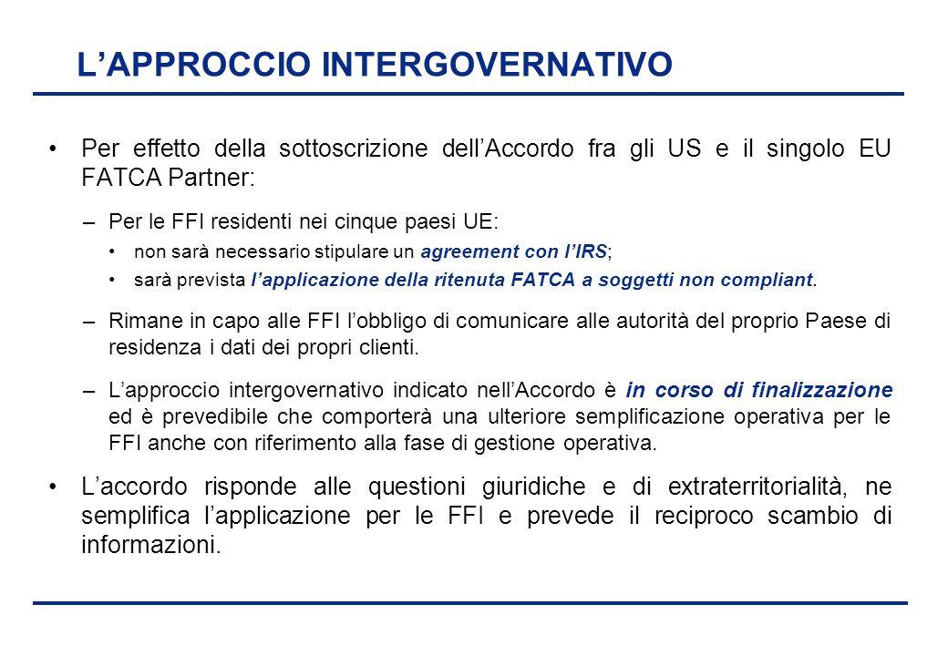 BEI - 17 aprile 2013 L'APPROCCIO INTERGOVERNATIVO Per effetto della sottoscrizione dell'Accordo fra gli US e il singolo EU FATCA Partner: –Per le FFI