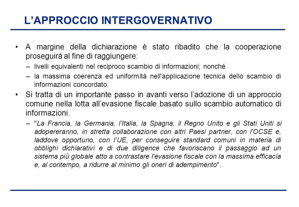 BEI - 17 aprile 2013 L'APPROCCIO INTERGOVERNATIVO A margine della dichiarazione è stato ribadito che la cooperazione proseguirà al fine di raggiungere
