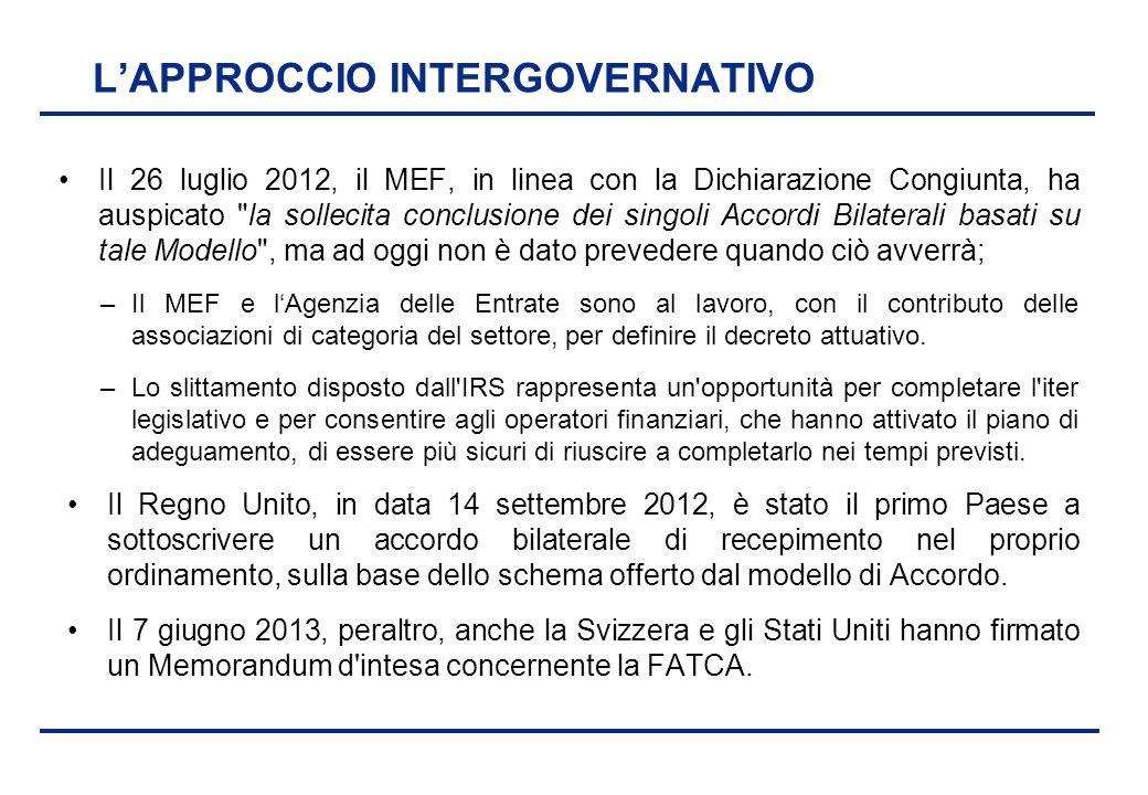 BEI - 17 aprile 2013 L'APPROCCIO INTERGOVERNATIVO Il 26 luglio 2012, il MEF, in linea con la Dichiarazione Congiunta, ha auspicato