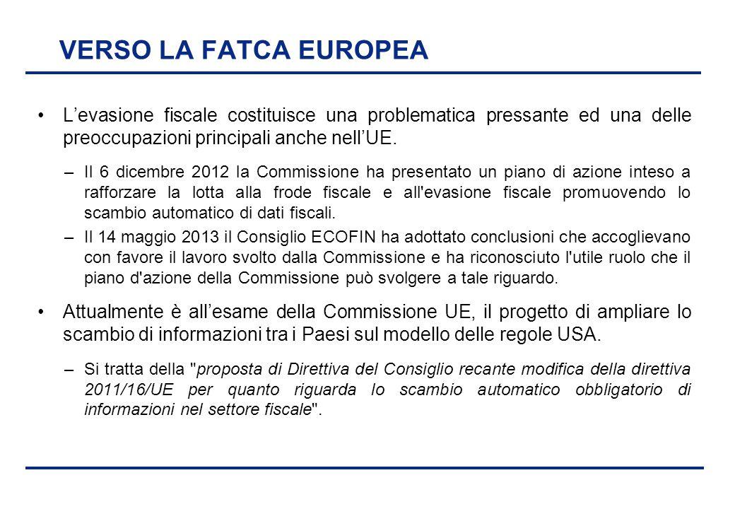 BEI - 17 aprile 2013 VERSO LA FATCA EUROPEA L'evasione fiscale costituisce una problematica pressante ed una delle preoccupazioni principali anche nel