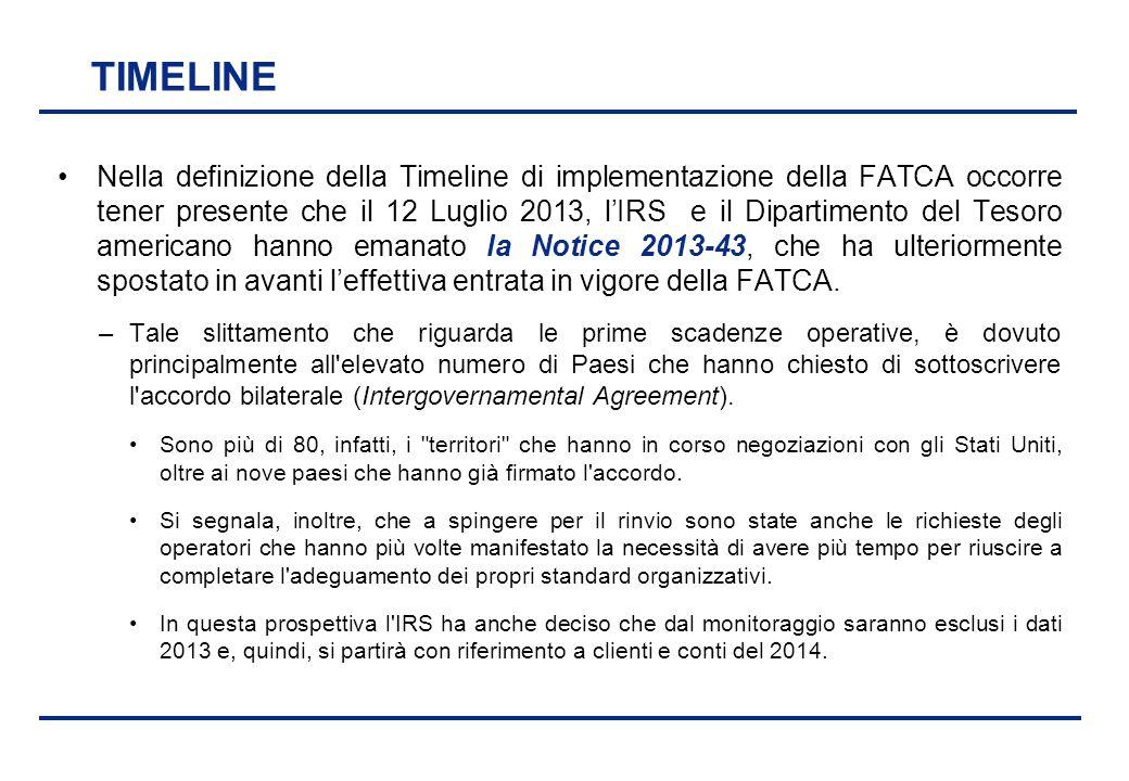 BEI - 17 aprile 2013 TIMELINE Nella definizione della Timeline di implementazione della FATCA occorre tener presente che il 12 Luglio 2013, l'IRS e il