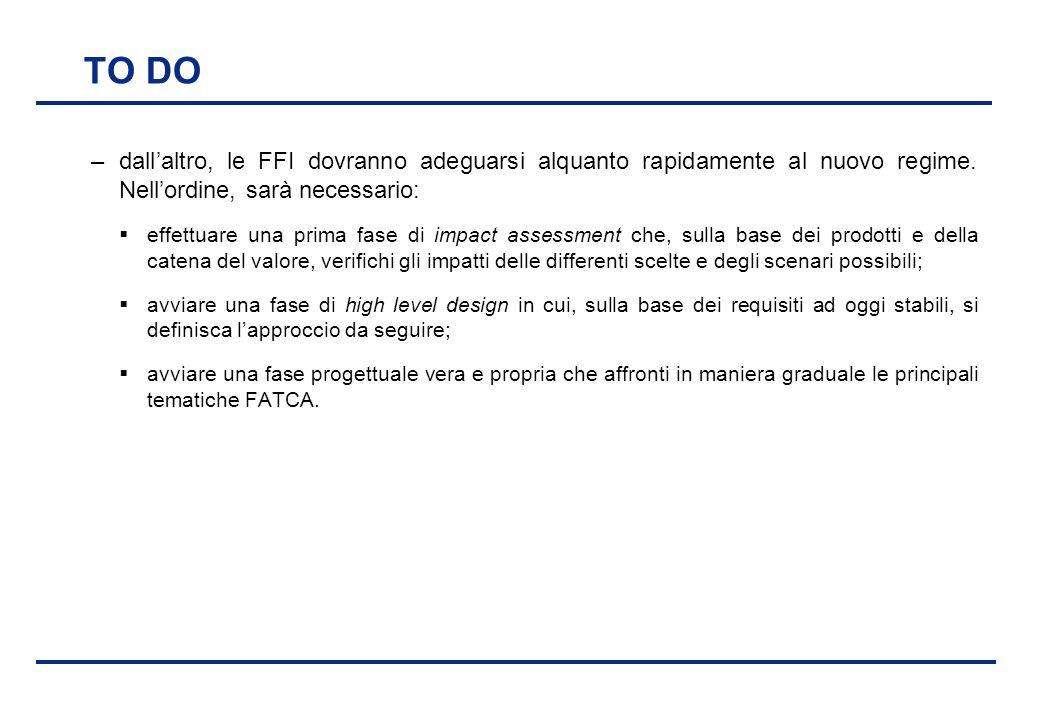 BEI - 17 aprile 2013 TO DO –dall'altro, le FFI dovranno adeguarsi alquanto rapidamente al nuovo regime. Nell'ordine, sarà necessario:  effettuare una