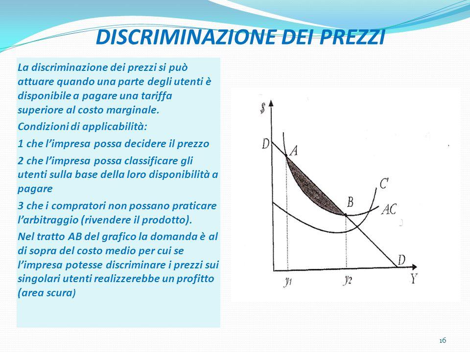 DISCRIMINAZIONE DEI PREZZI La discriminazione dei prezzi si può attuare quando una parte degli utenti è disponibile a pagare una tariffa superiore al