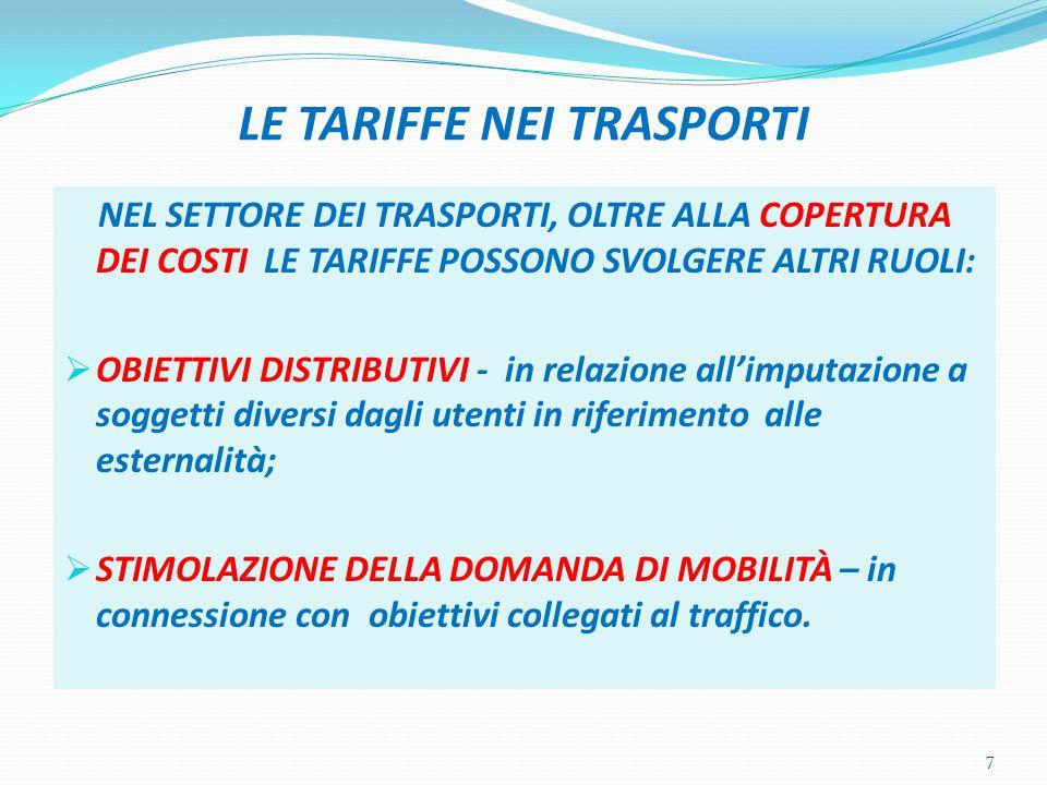 LE TARIFFE NEI TRASPORTI (2) Il settore dei trasporti si presta meglio di altri a svolgere una funzione tariffaria in connessione al problema dei FALLIMENTI DI MERCATO e alla loro correzione.