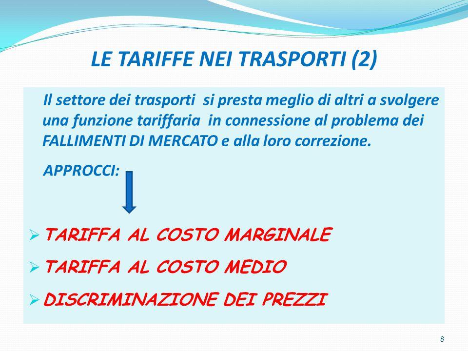 LE TARIFFE NEI TRASPORTI (2) Il settore dei trasporti si presta meglio di altri a svolgere una funzione tariffaria in connessione al problema dei FALL