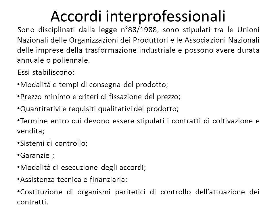 Accordi interprofessionali Sono disciplinati dalla legge n°88/1988, sono stipulati tra le Unioni Nazionali delle Organizzazioni dei Produttori e le As