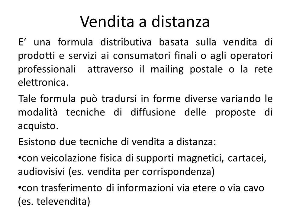 Vendita a distanza E' una formula distributiva basata sulla vendita di prodotti e servizi ai consumatori finali o agli operatori professionali attrave
