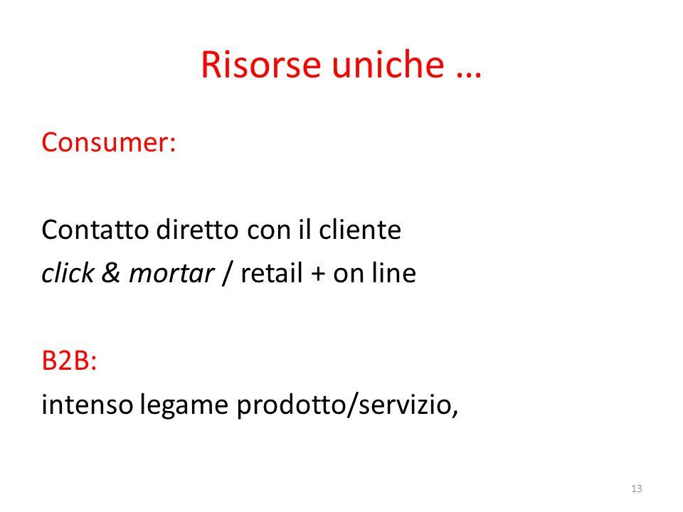 Risorse uniche … Consumer: Contatto diretto con il cliente click & mortar / retail + on line B2B: intenso legame prodotto/servizio, 13