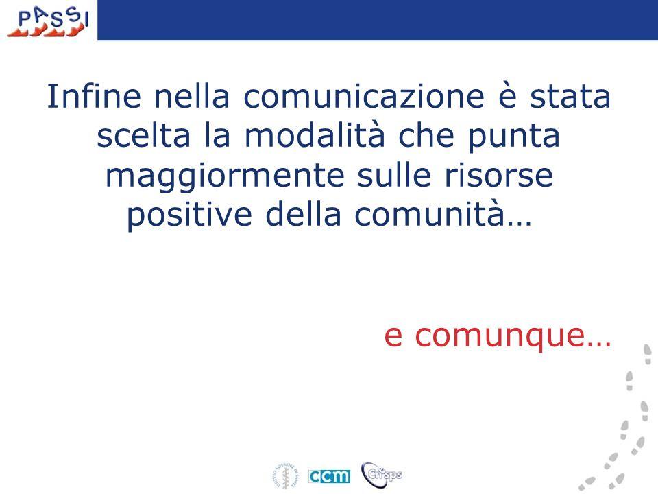 Infine nella comunicazione è stata scelta la modalità che punta maggiormente sulle risorse positive della comunità… e comunque…