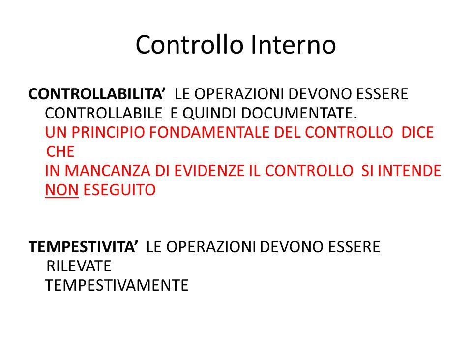 Controllo Interno CONTROLLABILITA' LE OPERAZIONI DEVONO ESSERE CONTROLLABILE E QUINDI DOCUMENTATE. UN PRINCIPIO FONDAMENTALE DEL CONTROLLO DICE CHE IN