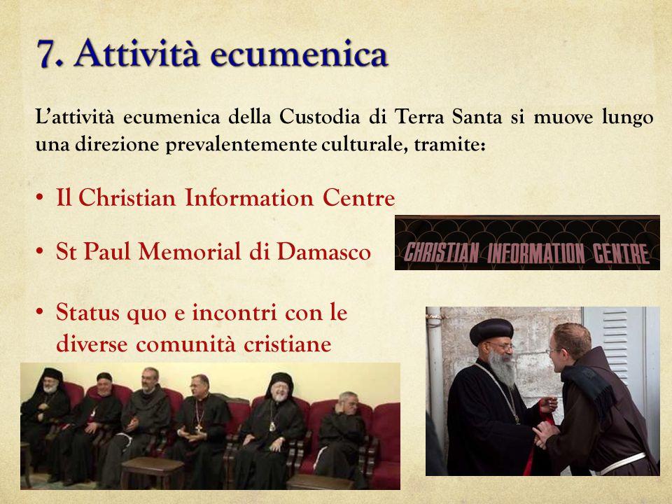 L'attività ecumenica della Custodia di Terra Santa si muove lungo una direzione prevalentemente culturale, tramite: Il Christian Information Centre St Paul Memorial di Damasco Status quo e incontri con le diverse comunità cristiane