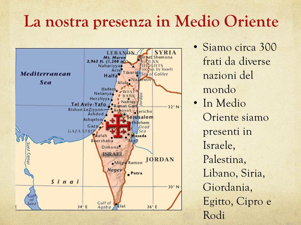 La nostra presenza in Medio Oriente Siamo circa 300 frati da diverse nazioni del mondo In Medio Oriente siamo presenti in Israele, Palestina, Libano, Siria, Giordania, Egitto, Cipro e Rodi