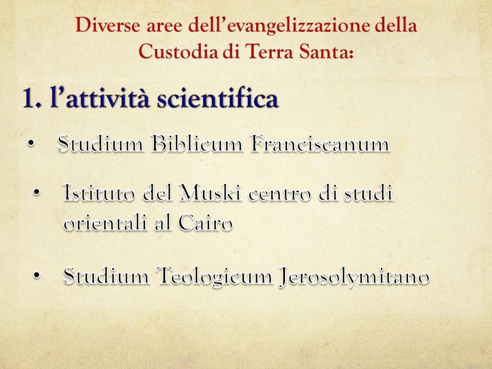 Diverse aree dell'evangelizzazione della Custodia di Terra Santa: