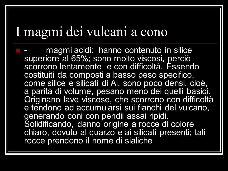 I magmi dei vulcani a cono - magmi acidi: hanno contenuto in silice superiore al 65%; sono molto viscosi, perciò scorrono lentamente e con difficoltà.