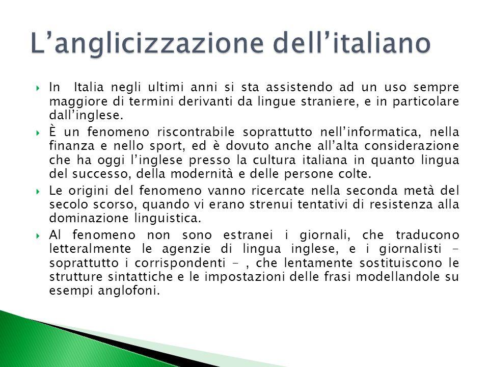  In Italia negli ultimi anni si sta assistendo ad un uso sempre maggiore di termini derivanti da lingue straniere, e in particolare dall'inglese.  È