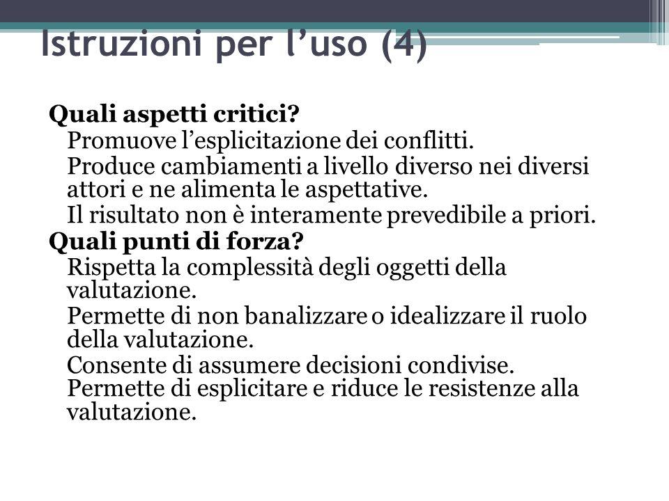Istruzioni per l'uso (4) Quali aspetti critici? Promuove l'esplicitazione dei conflitti. Produce cambiamenti a livello diverso nei diversi attori e ne