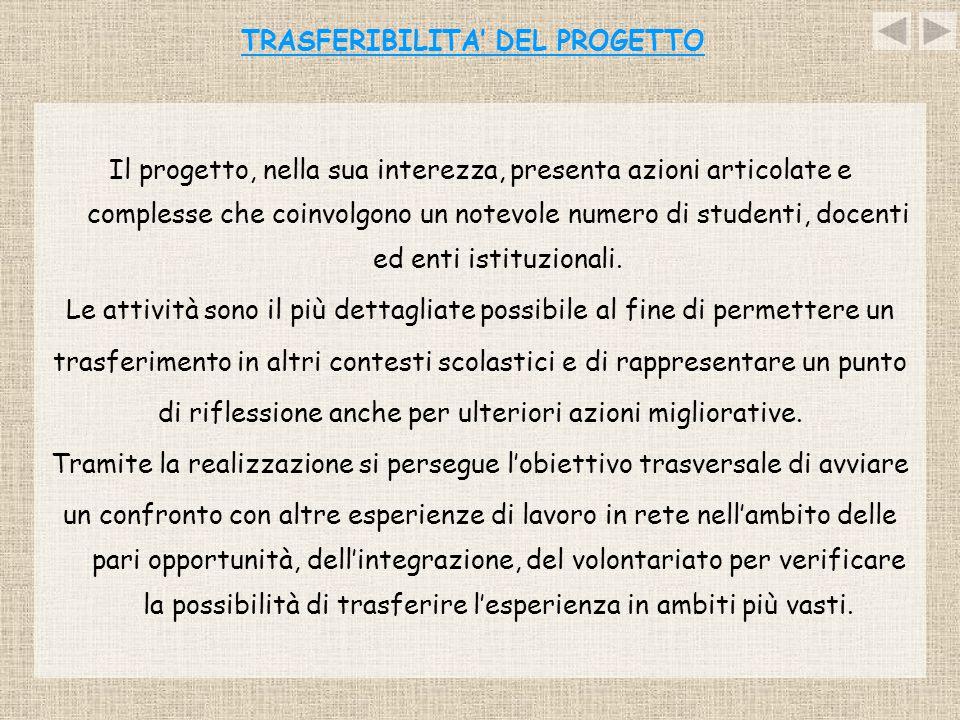 TRASFERIBILITA' DEL PROGETTO Il progetto, nella sua interezza, presenta azioni articolate e complesse che coinvolgono un notevole numero di studenti,